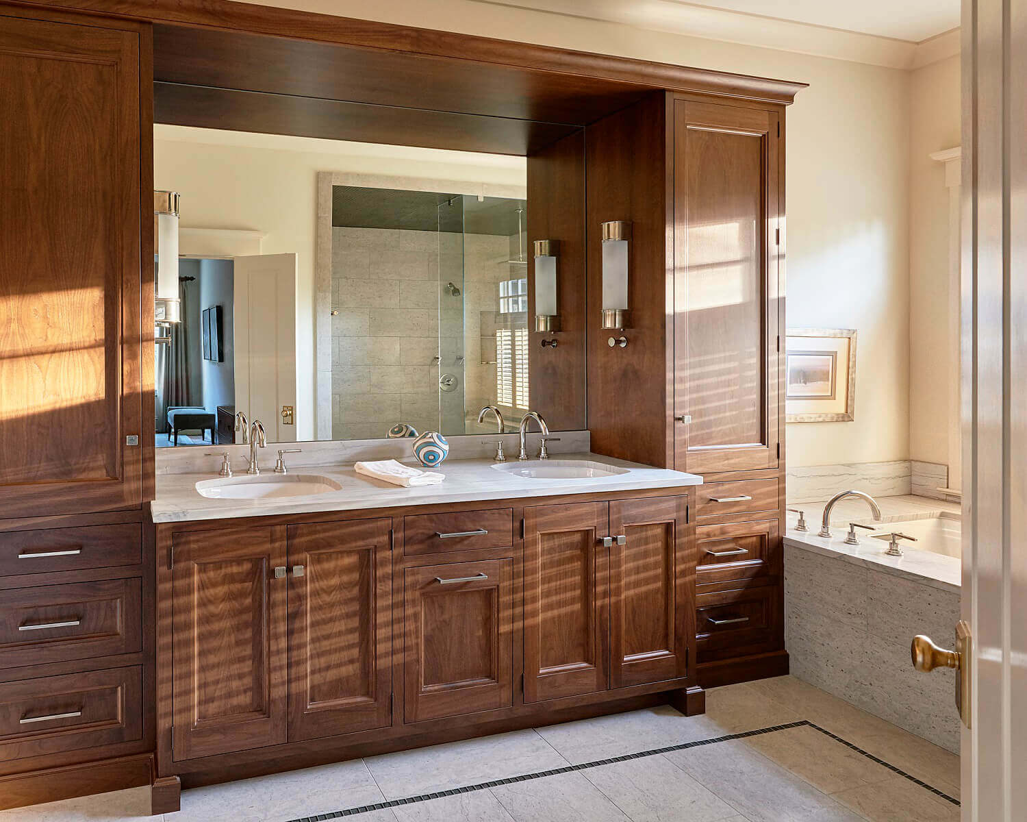 Warm Custom Cabinetry for this Family Bathroom