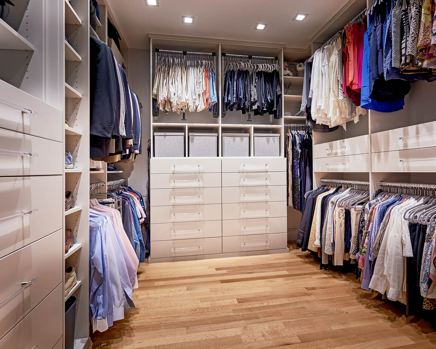 The Perfect Closet Includes Custom Cabinetry And Clean Design
