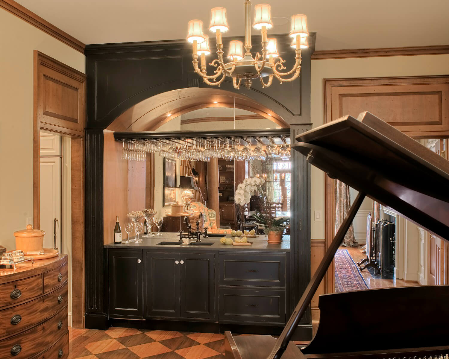 A Custom Wet Bar With Gray Cabinetry
