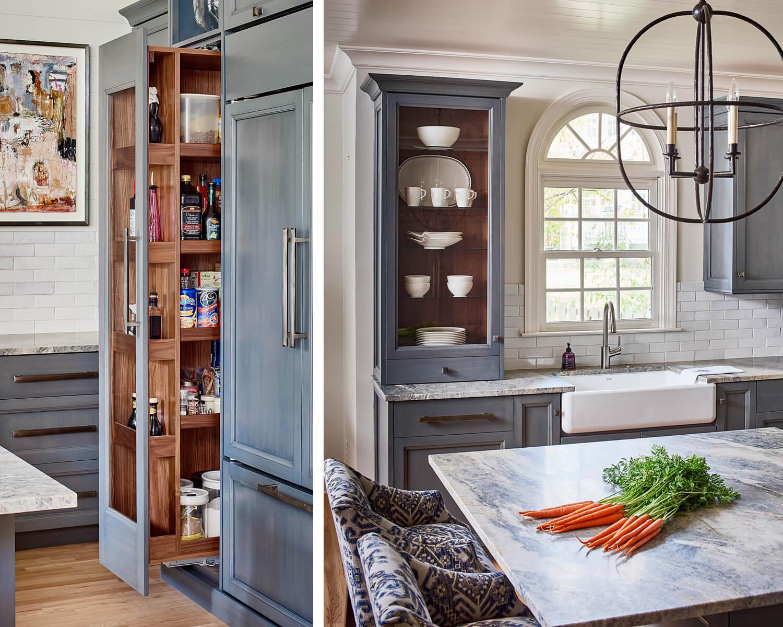 unique walnut interiors in custom cabinetry.