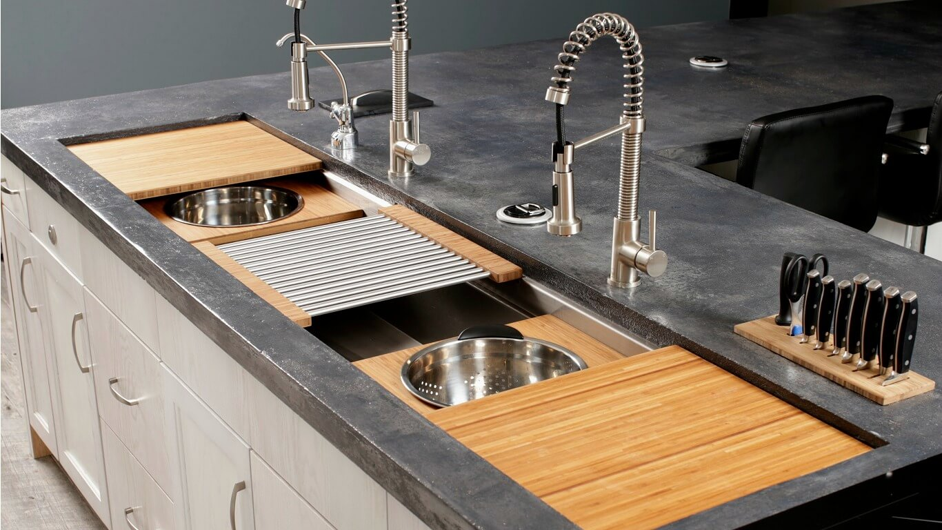 A Wow Kitchen Sink With Custom Bamboo Culinary Features